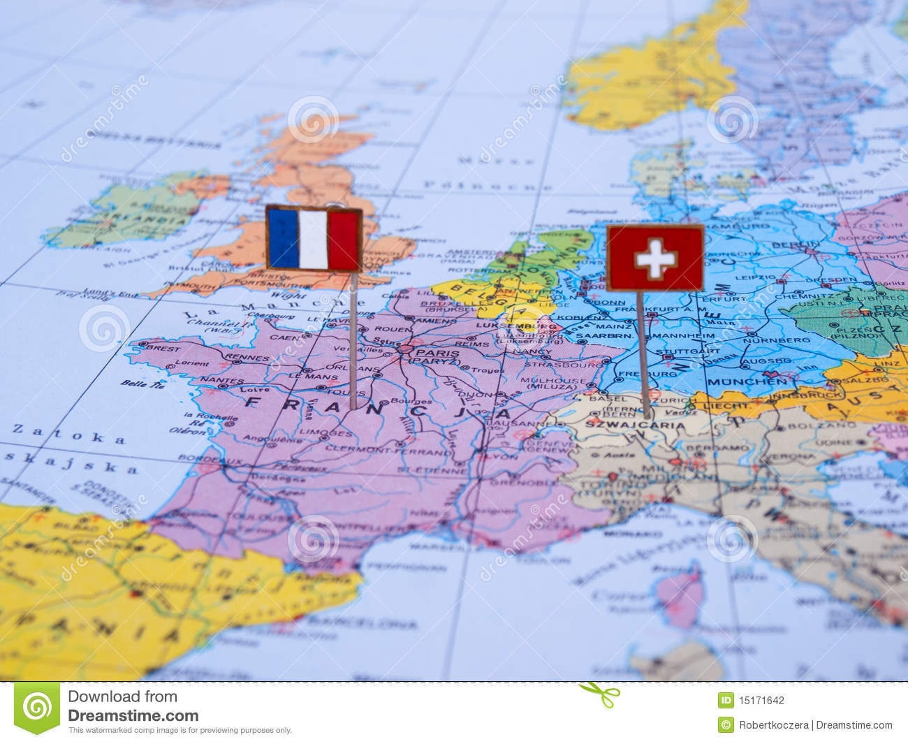 Map Of France Switzerland.France And Switzerland On The Map Stock Photo Image Of