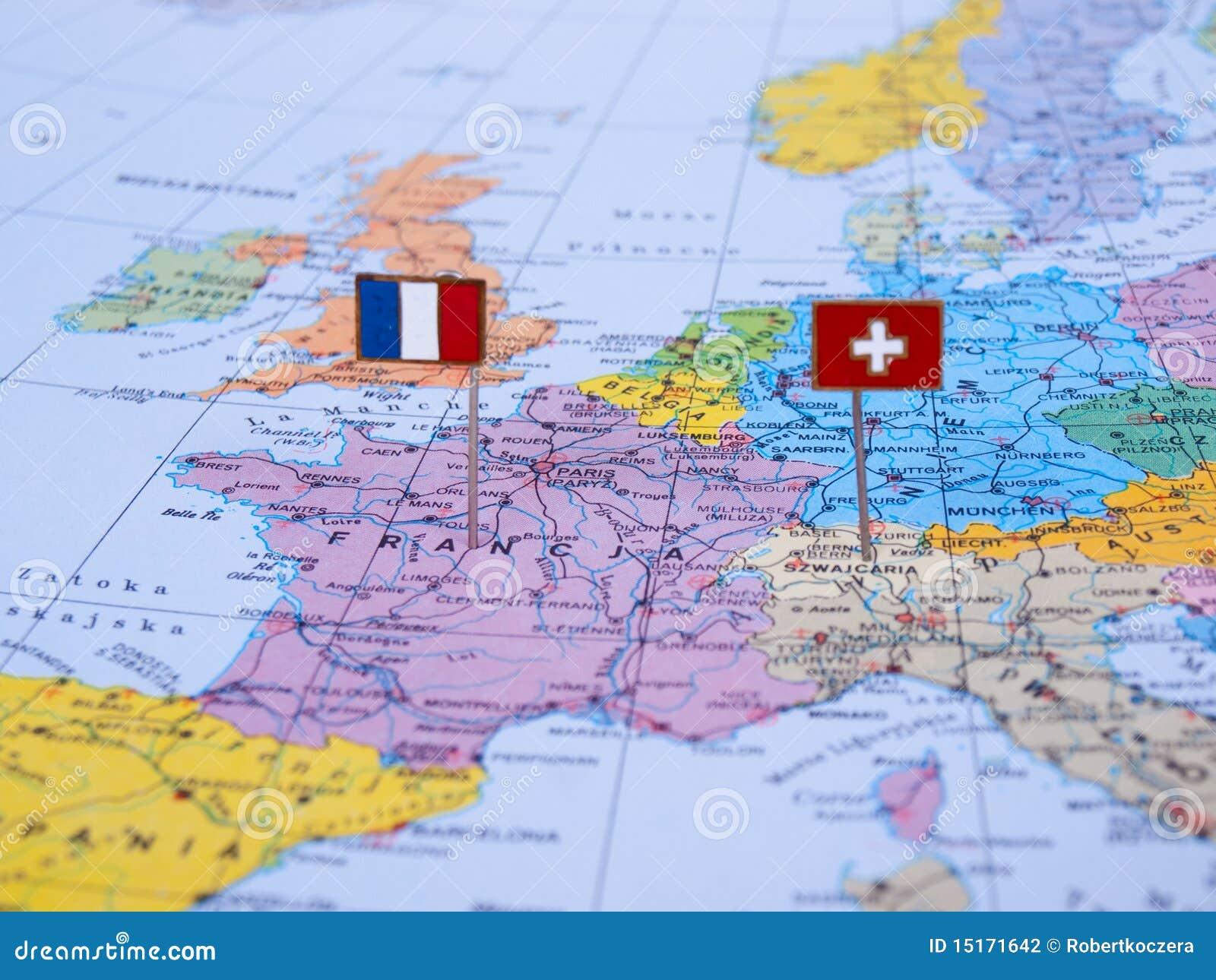 Map Of France Switzerland.France And Switzerland On The Map Stock Photo Image Of Travel