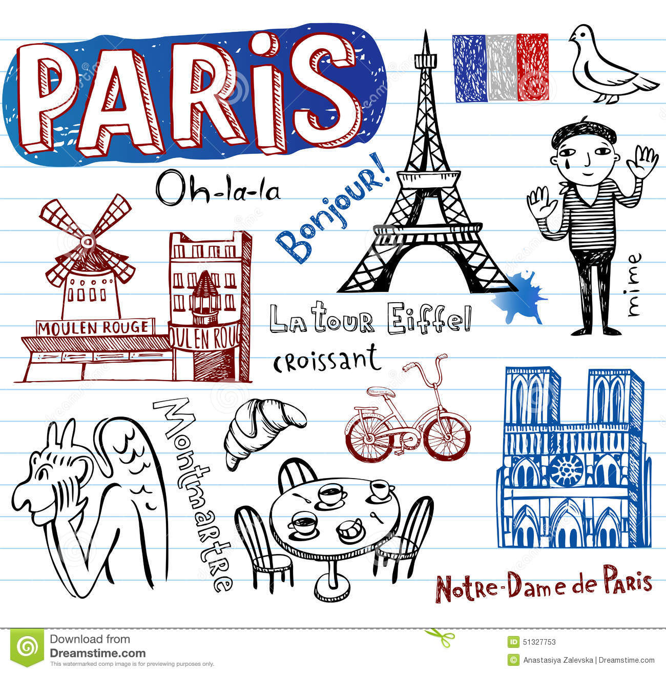 France symbols as funky doodles stock vector illustration of france symbols as funky doodles dove chimera biocorpaavc