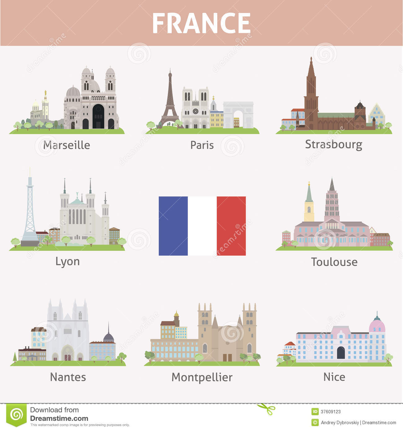 Travelling From Nice To Toulouse Roadtrip: France. Symbols Of Cities Stock Photos