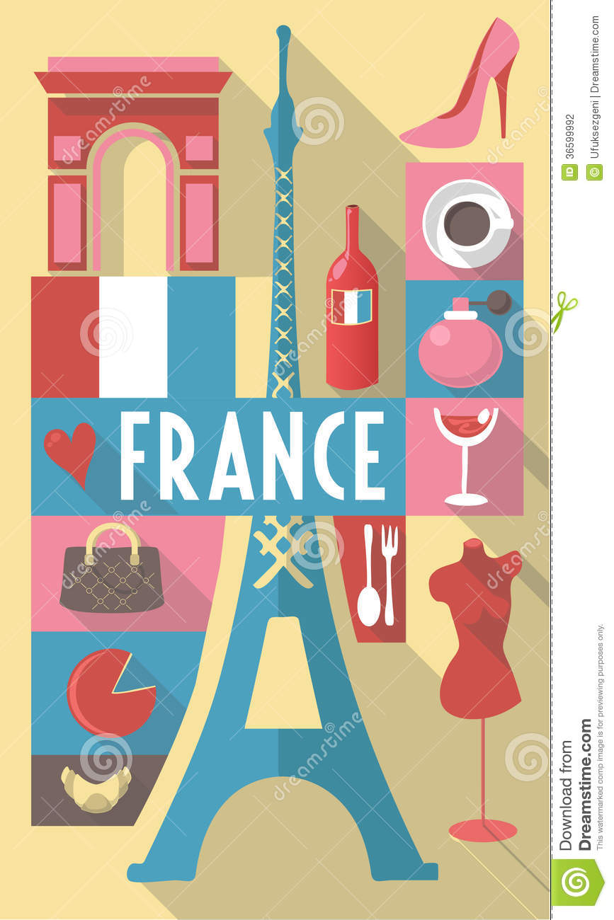 france symbols on a poster or postcard stock vector image 36599992. Black Bedroom Furniture Sets. Home Design Ideas
