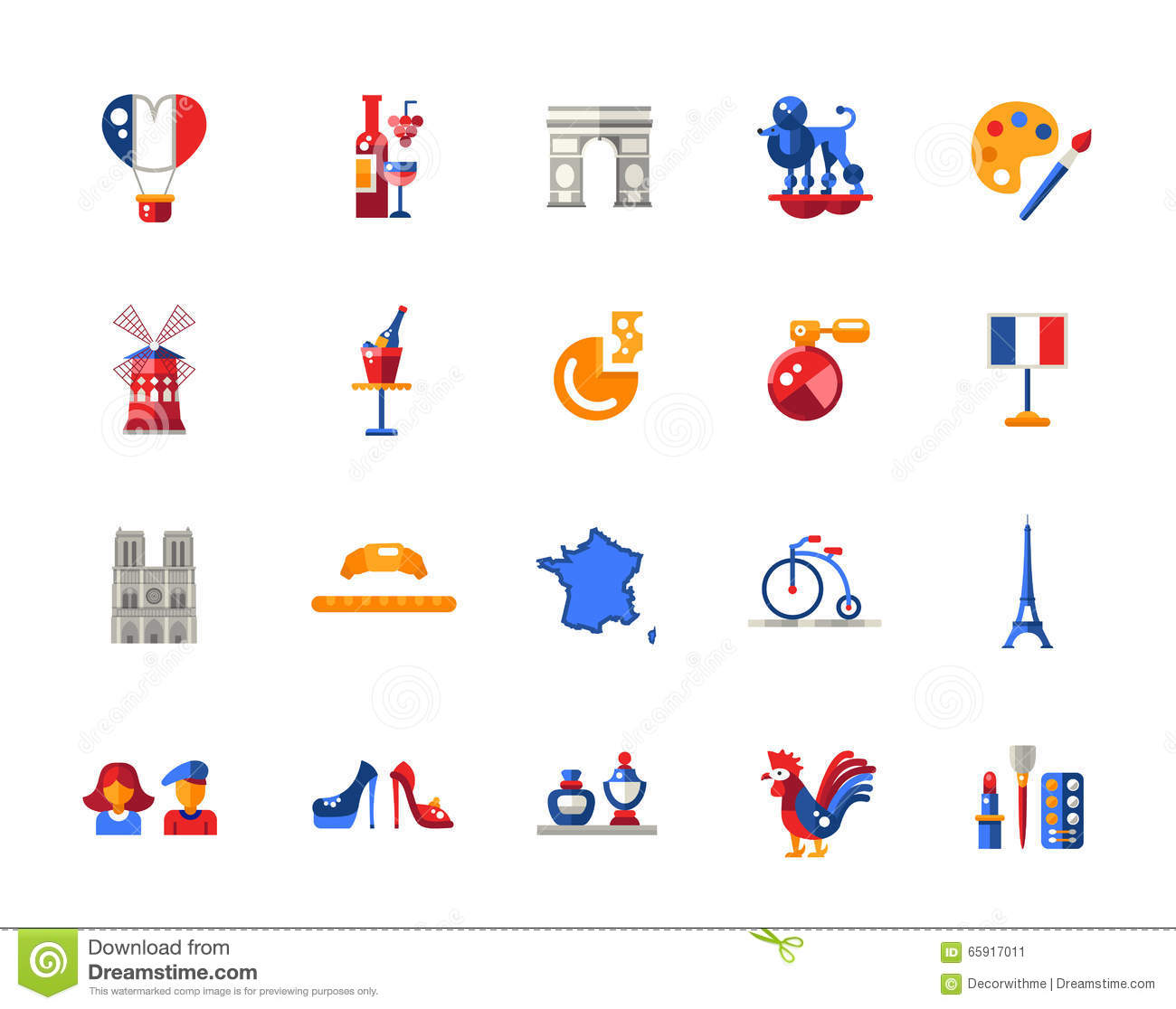 France Travel Icons And Elements With Famous French ...