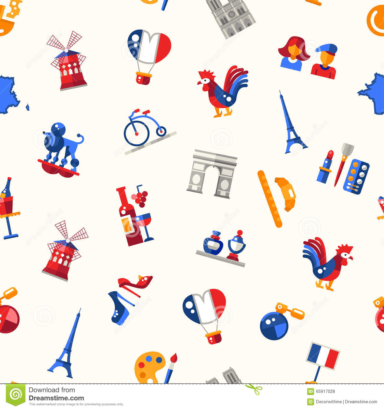 France travel icons seamless pattern with famous french for Design francais
