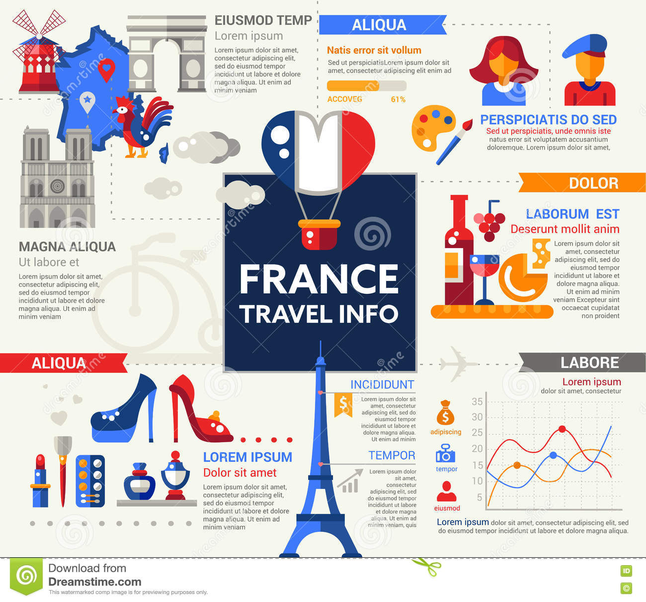 France Travel Info Poster Brochure Cover Template Stock Vector