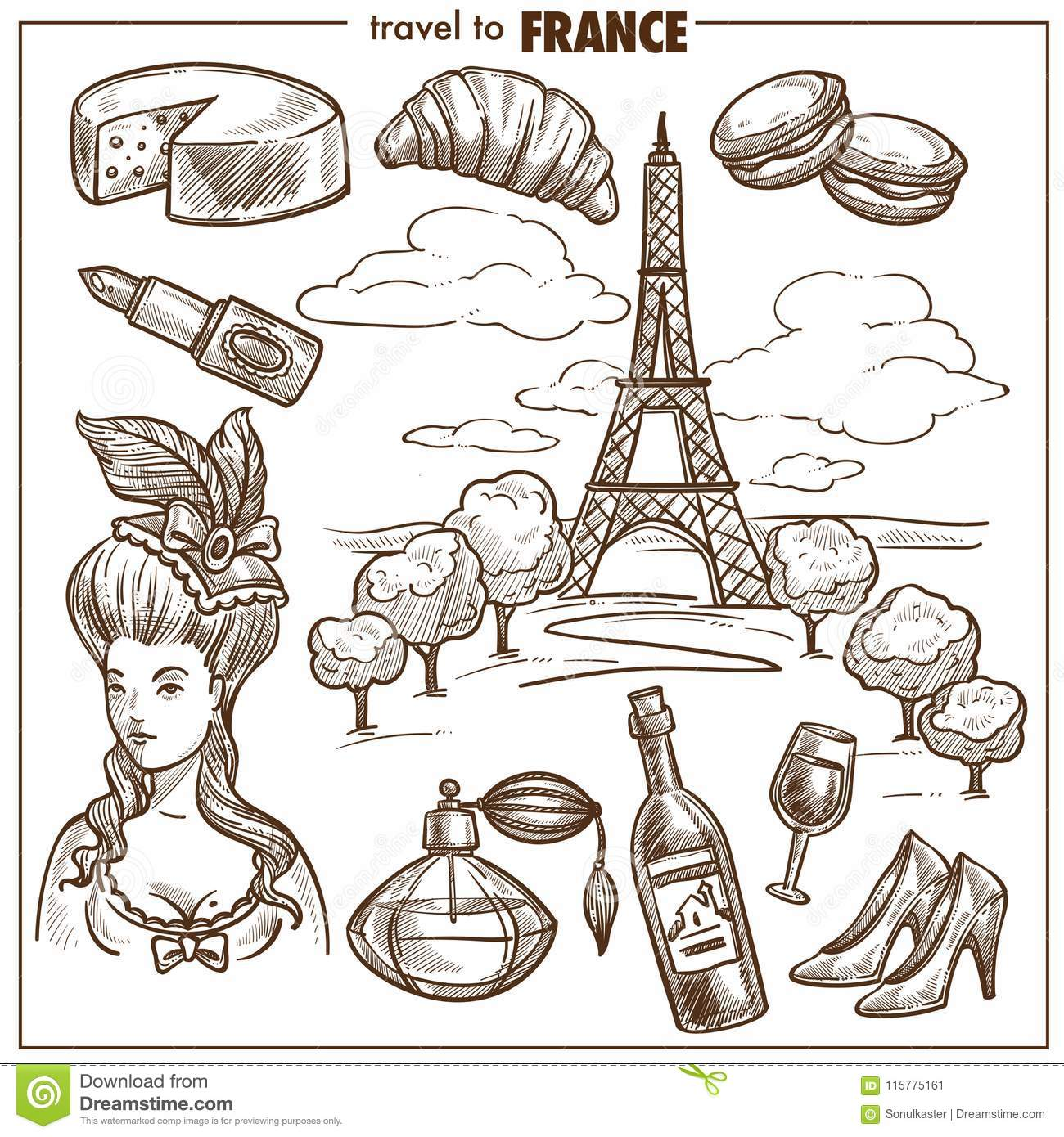 France Travel Landmark Vector Sketch Symbols Stock Vector