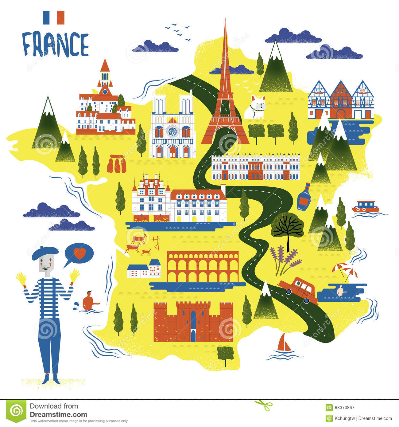 France Travel Map Vector Image 68370867 – France Tourist Attractions Map