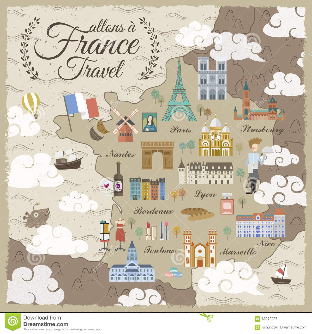 France Travel Map Stock Vector Illustration Of Abstract 68370927