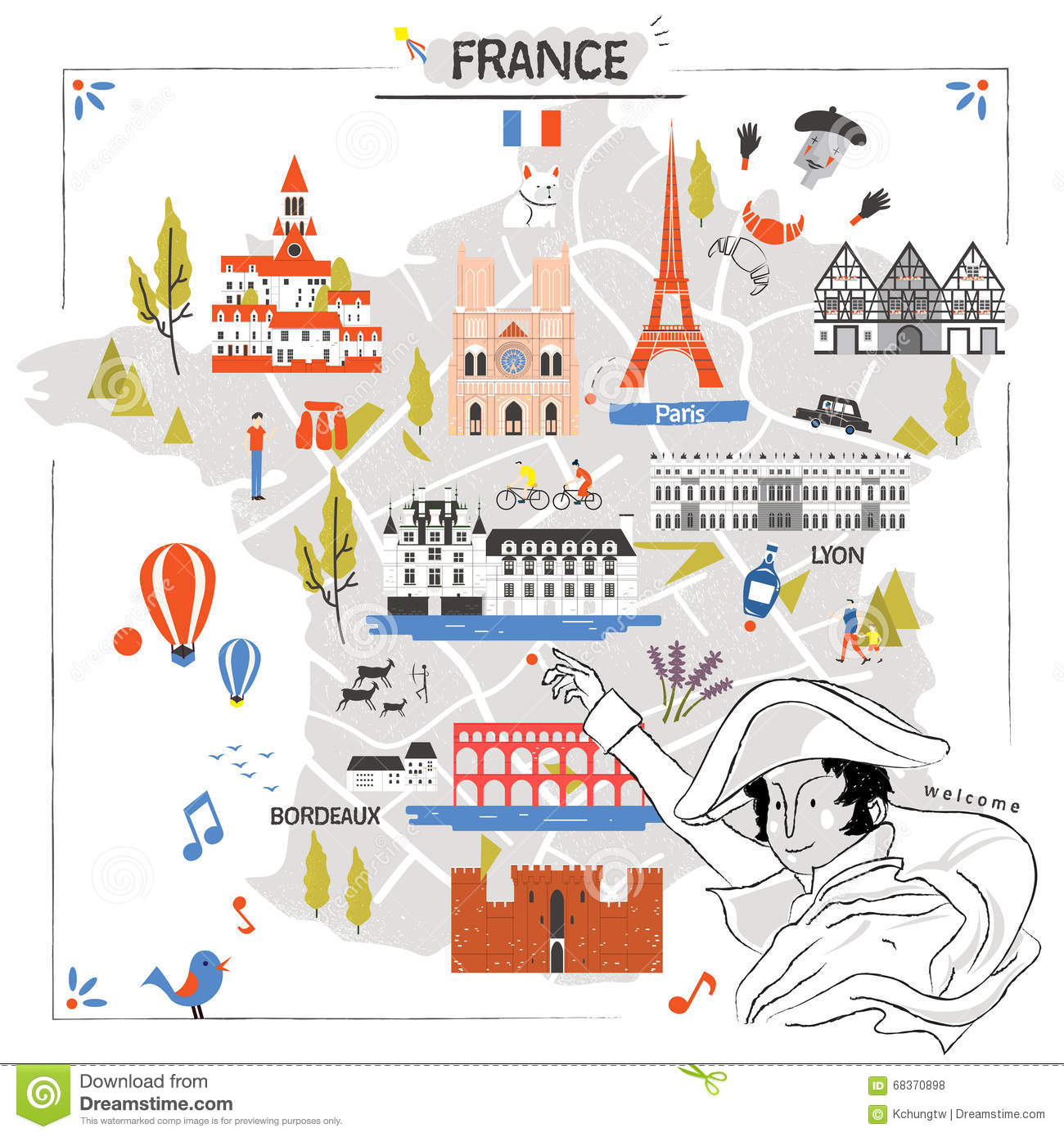 France Travel Map Vector Image 68370898 – Travel Map Of France