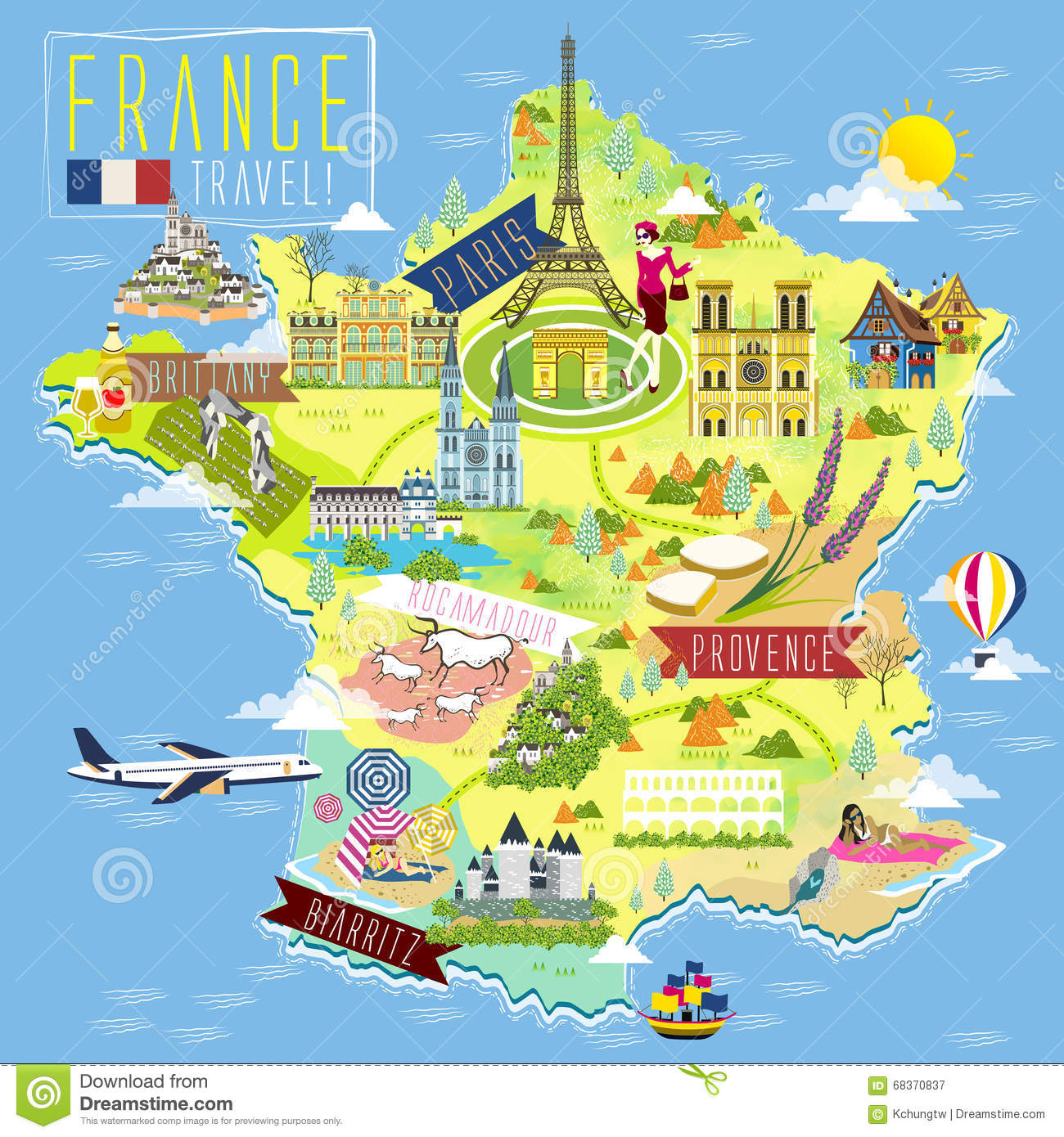 France Travel Map Vector Image 68370878 – France Tourist Attractions Map