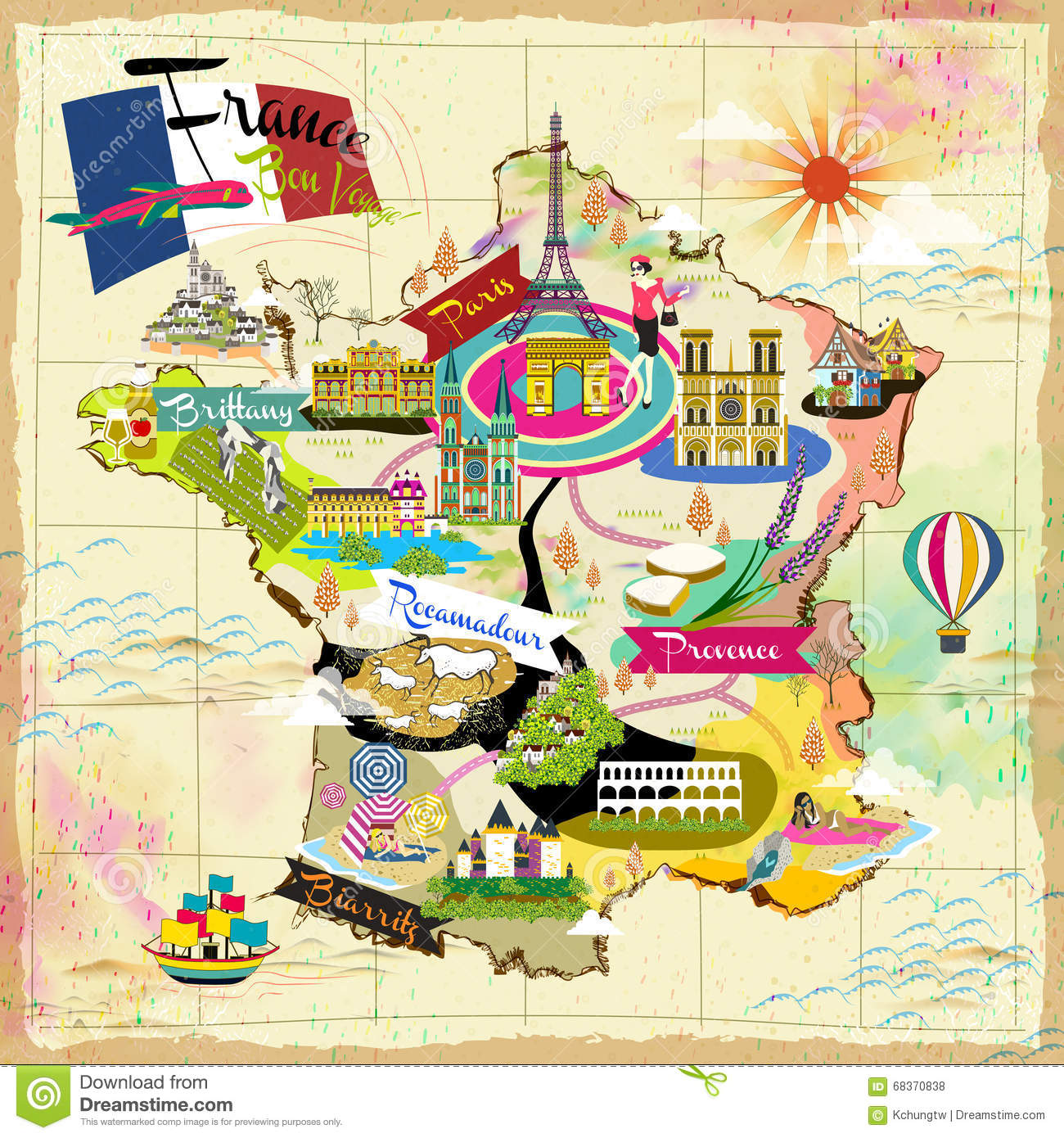 France Travel Map Vector Image 68370838 – France Tourist Attractions Map