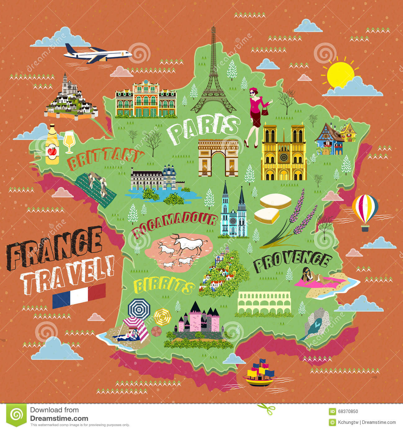 France Travel Map Vector Image 68370850 – France Tourist Attractions Map