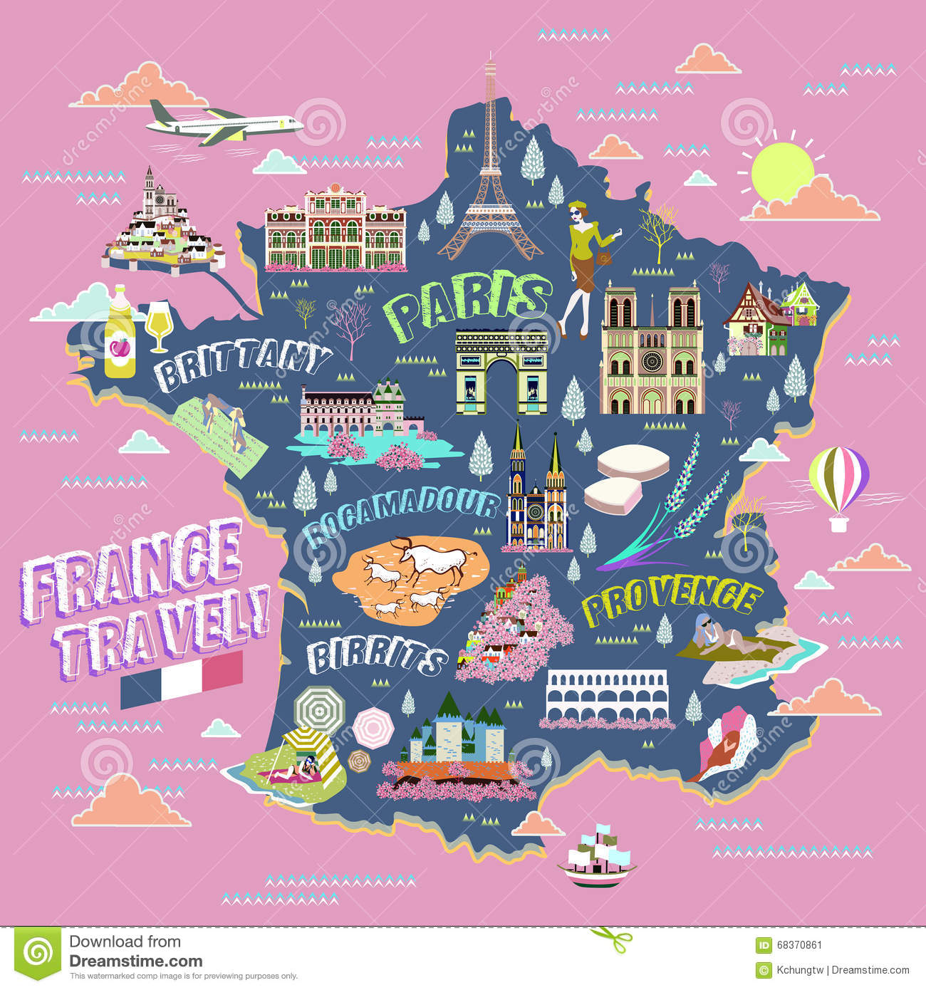 France Travel Map Vector Image 68370861 – France Tourist Attractions Map