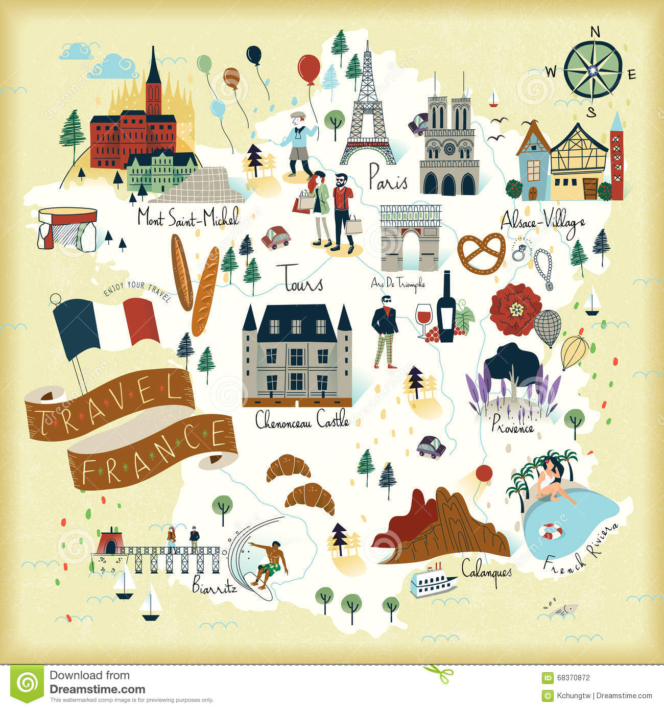 France Travel Map Vector Image 68370916 – France Tourist Attractions Map