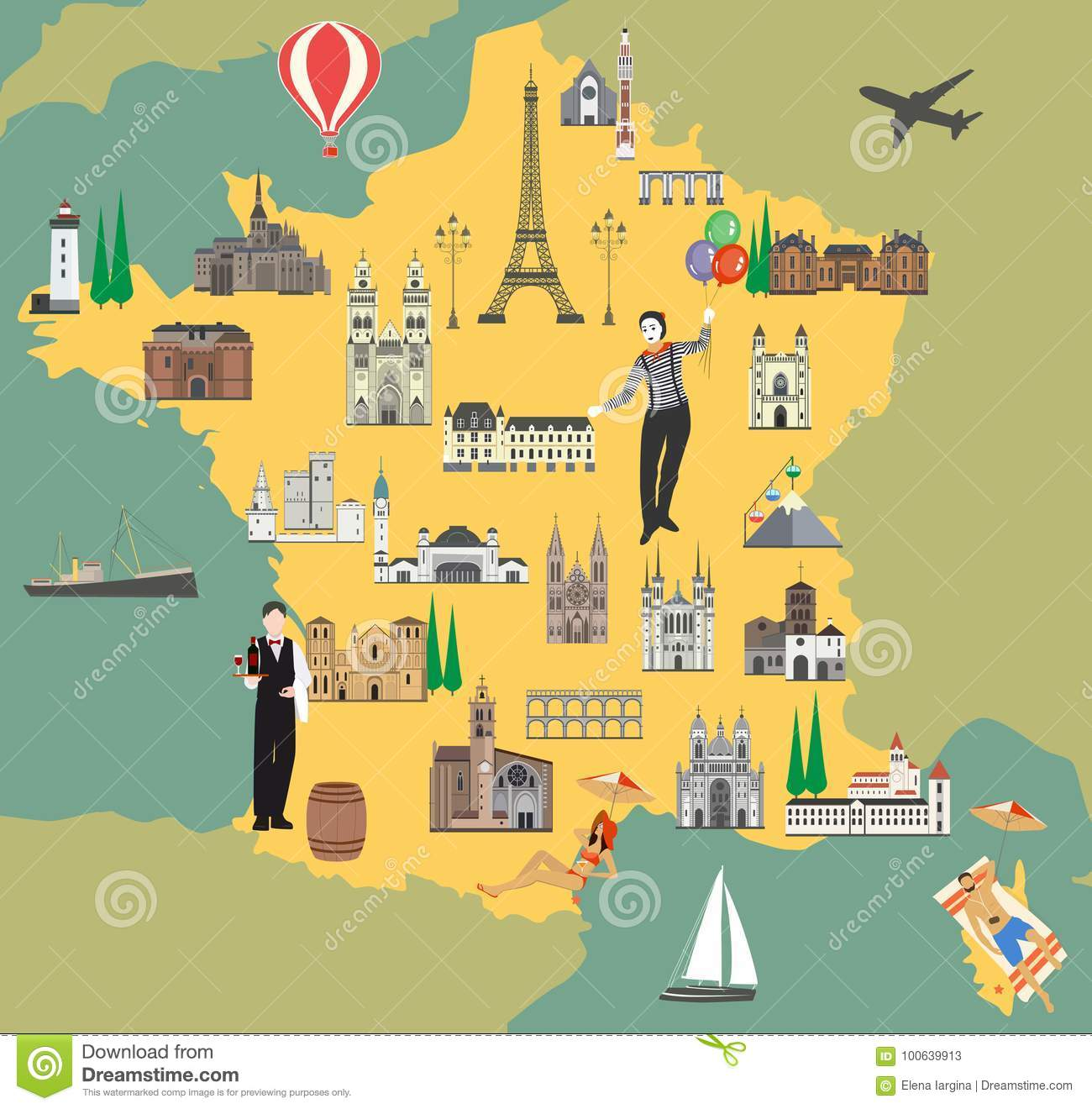 Travel Map Of France.France Travel Map With Sights Flat Style Vector Illustration Stock
