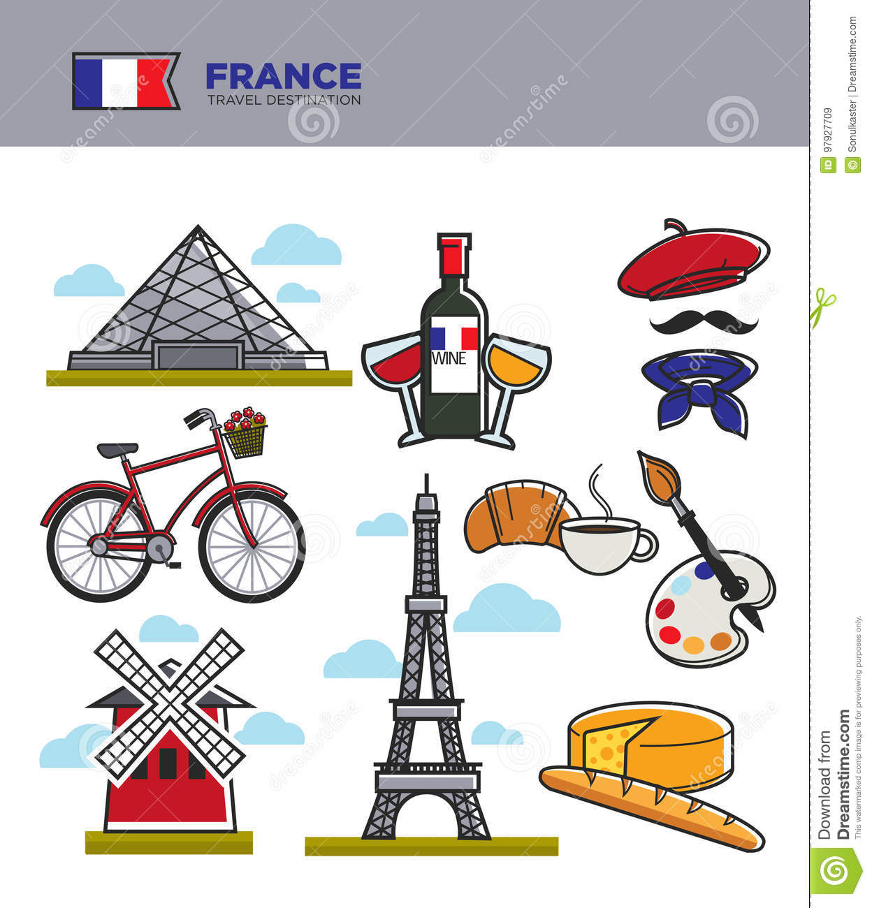 France Travel Tourism Symbols And Famous French Culture Landmarks