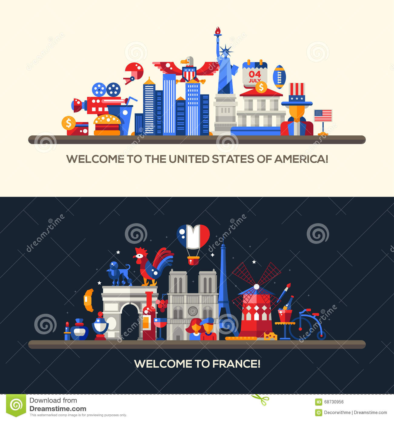 France Usa Travel Banners Set With Famous French Symbols Stock