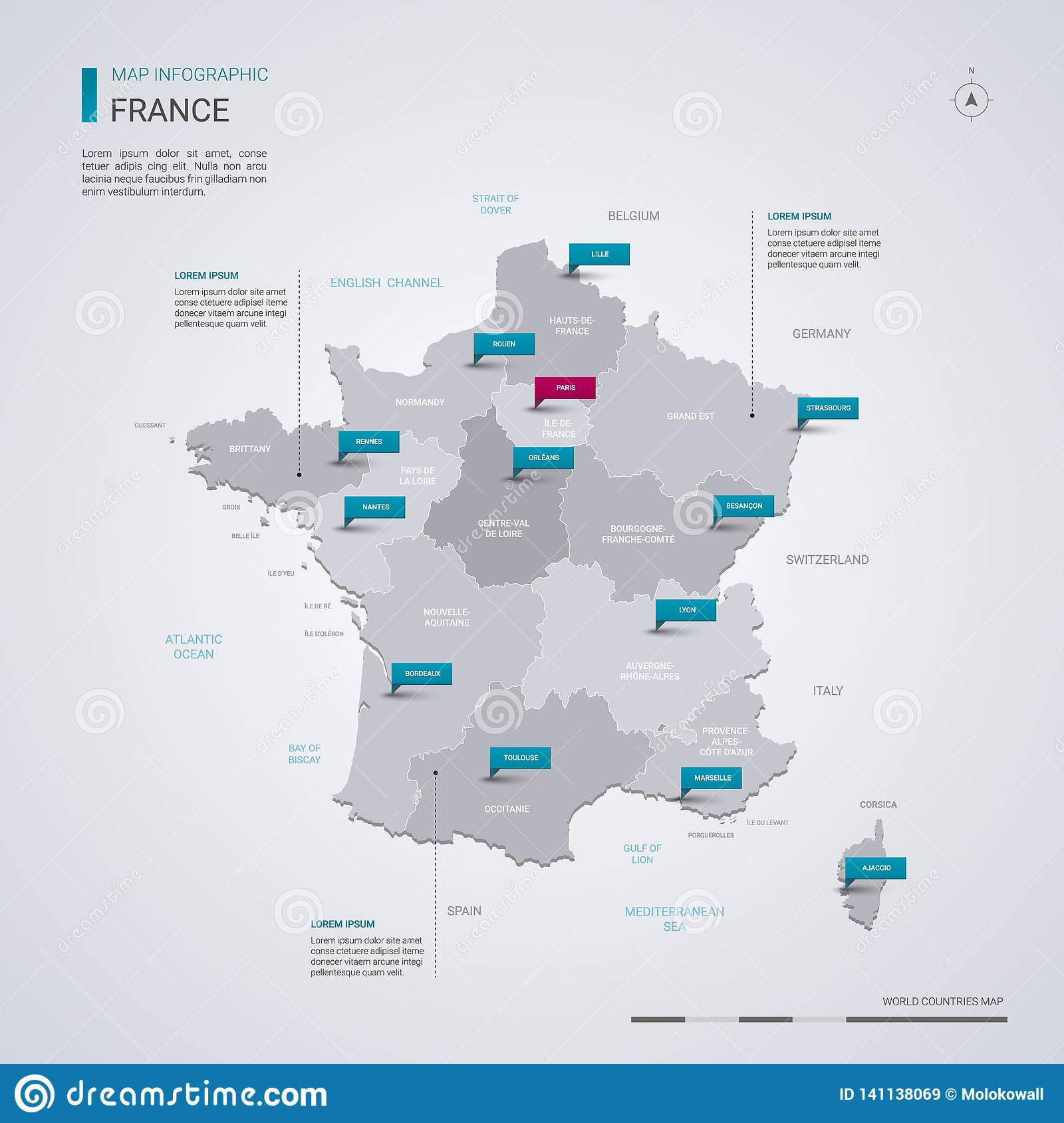 Capital Of France Map.France Vector Map With Infographic Elements Pointer Marks Stock