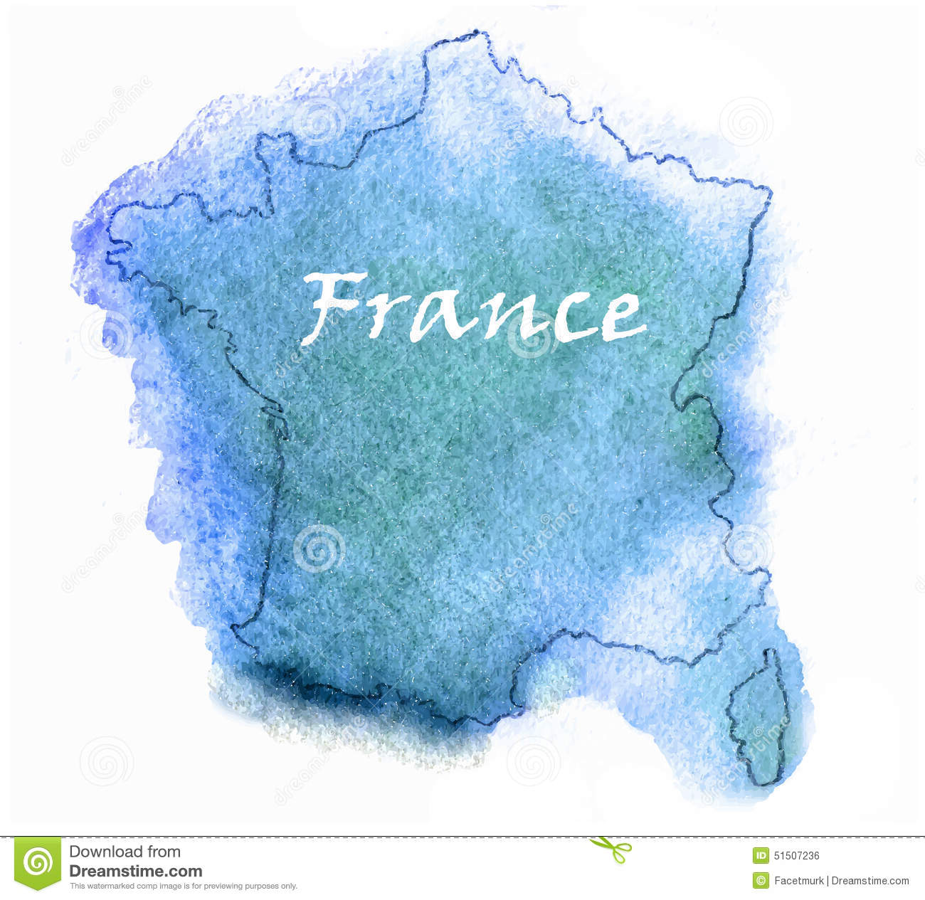 Custom Card Template french id card template : France Vector Watercolor Map Stock Vector - Image: 51507236