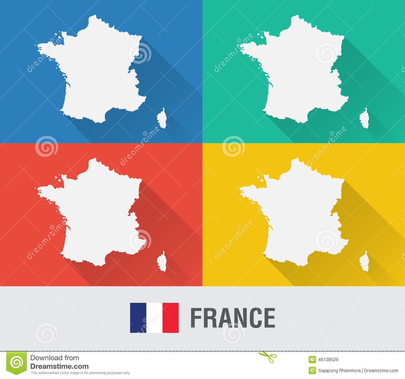 France world map in flat style with 4 colors stock vector france world map in flat style with 4 colors gumiabroncs Gallery