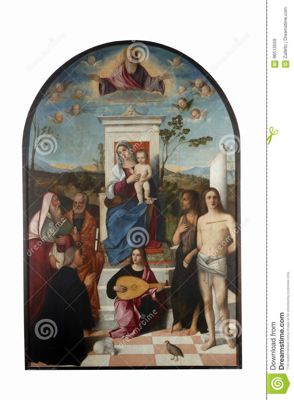 Francesco Bissolo Madonna With Child Saints And Donor Editorial