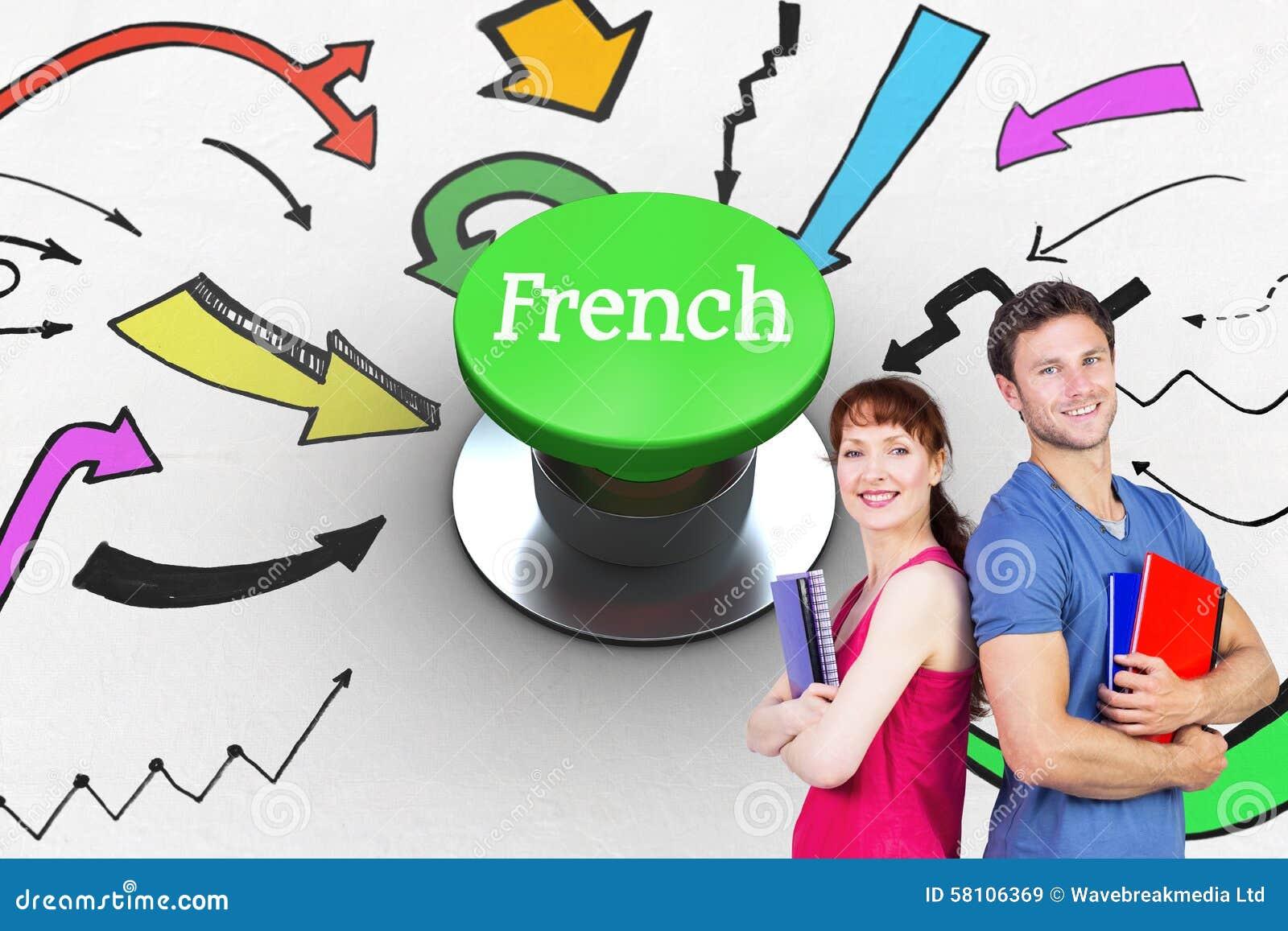 Francese contro il pulsante verde digitalmente generato