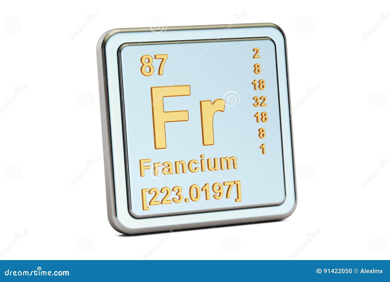 Francio franco muestra del elemento qumico representacin 3d stock francio franco muestra del elemento qumico representacin 3d aislada en el fondo blanco urtaz Choice Image