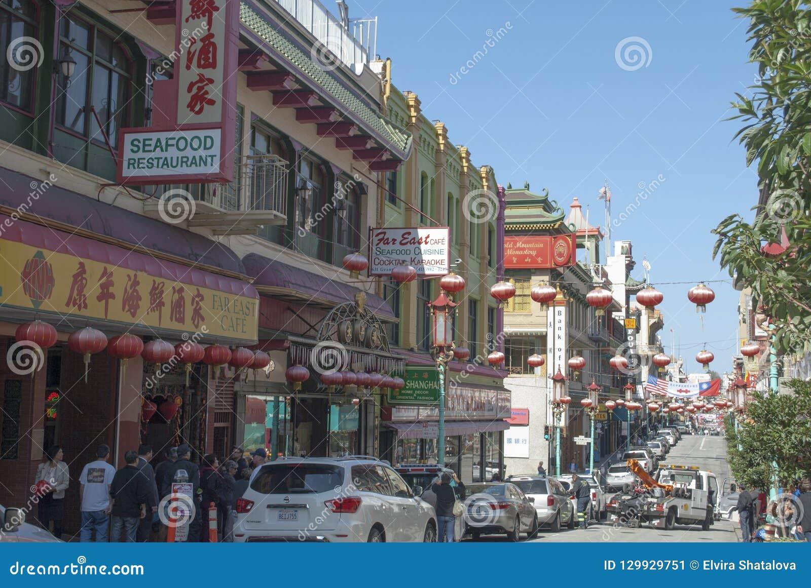 Francisco porcelanowy miasteczko San Świętowanie z Chińskimi latarkami
