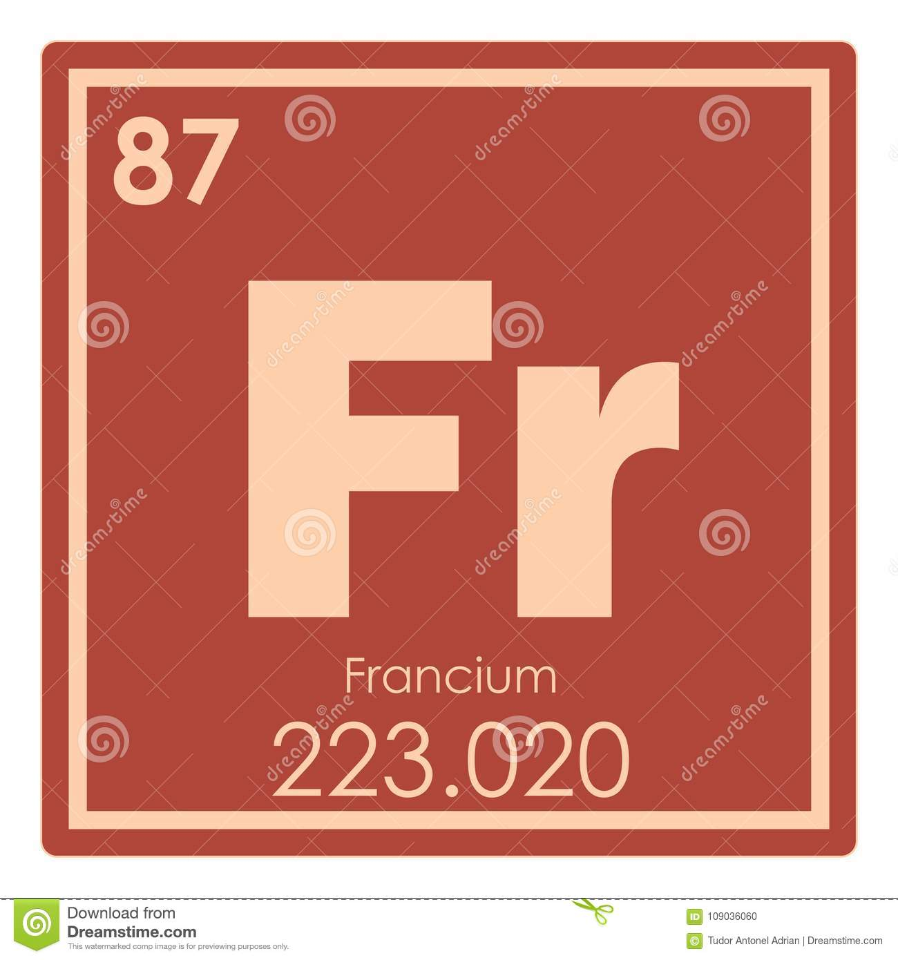 Francium Chemical Element Stock Illustration Illustration Of