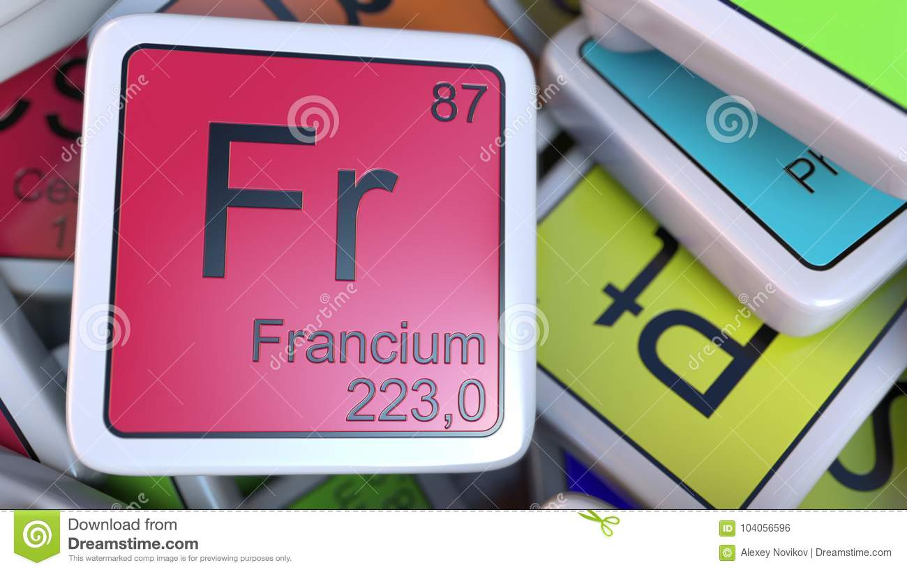 Francium Fr Block On The Pile Of Periodic Table Of The Chemical
