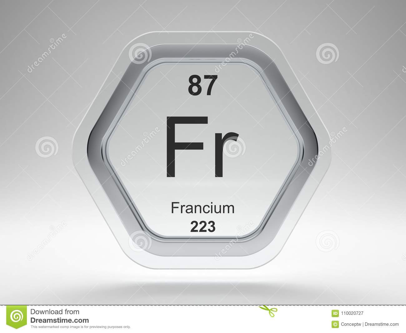 Francium Symbol Hexagon Frame Stock Illustration Illustration Of