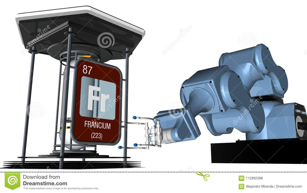 Francium symbol in square shape with metallic edge in front of a mechanical arm that will hold a chemical container. 3D render.