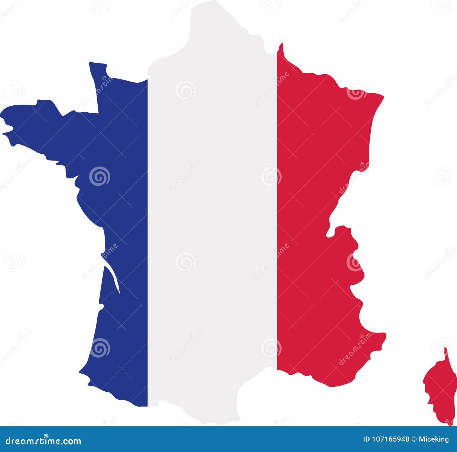 Francja mapa z flaga