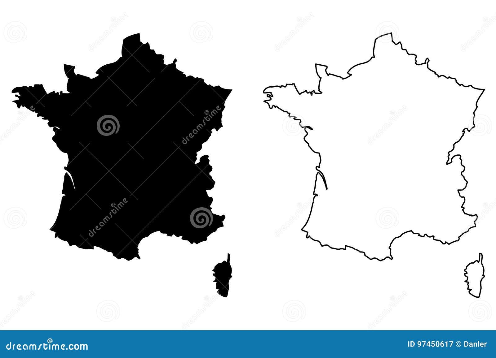 Francja mapy wektor