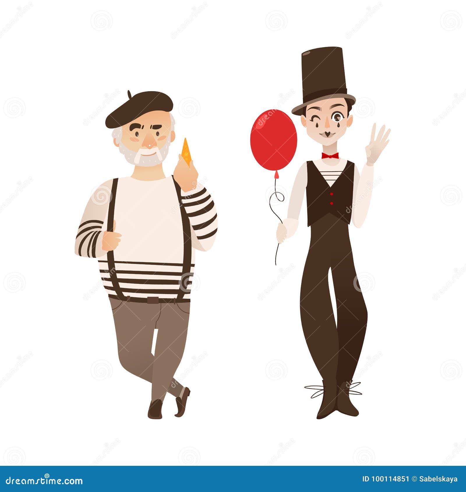 Francuscy charaktery, typowy artysta i mim,
