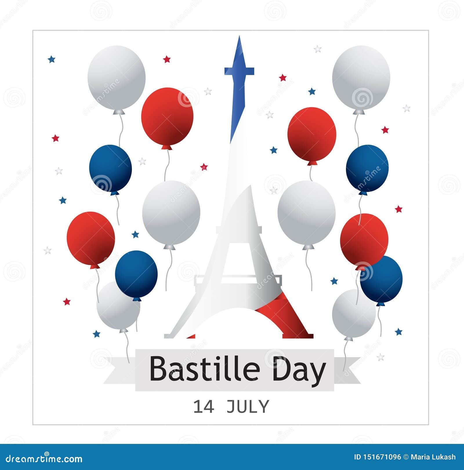 Francuski ?wi?to pa?stwowe 14 Lipiec Szczęśliwy Bastille dzień! Płaski sztandar w kolorach flaga państowowa Francja dla karty i p