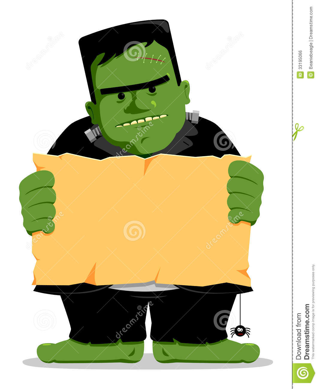 Frankenstein Halloween With Sign Stock Vector , Illustration
