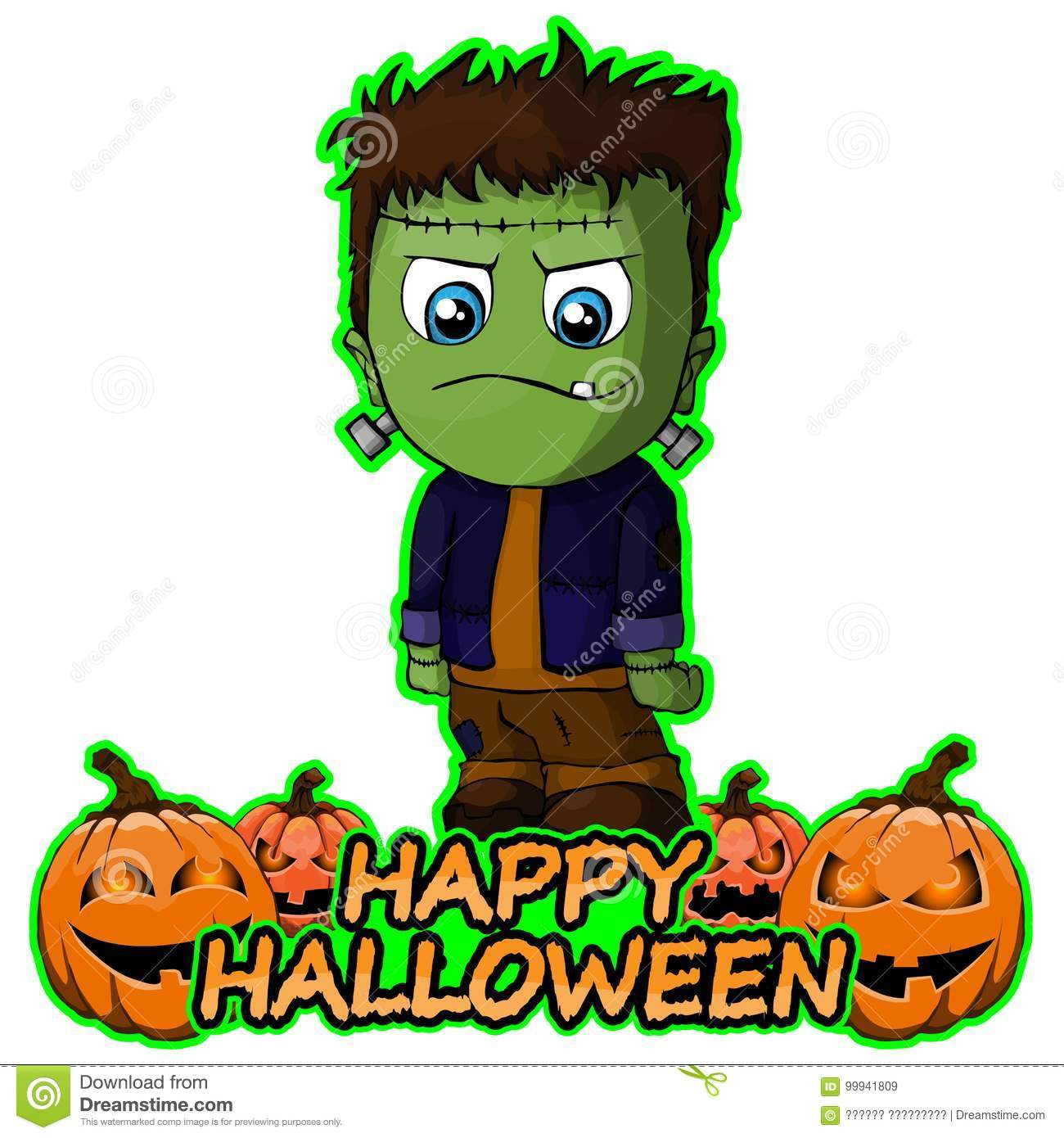 Frankenstein Wishes Happy Halloween On White Background. Royalty Free Vector