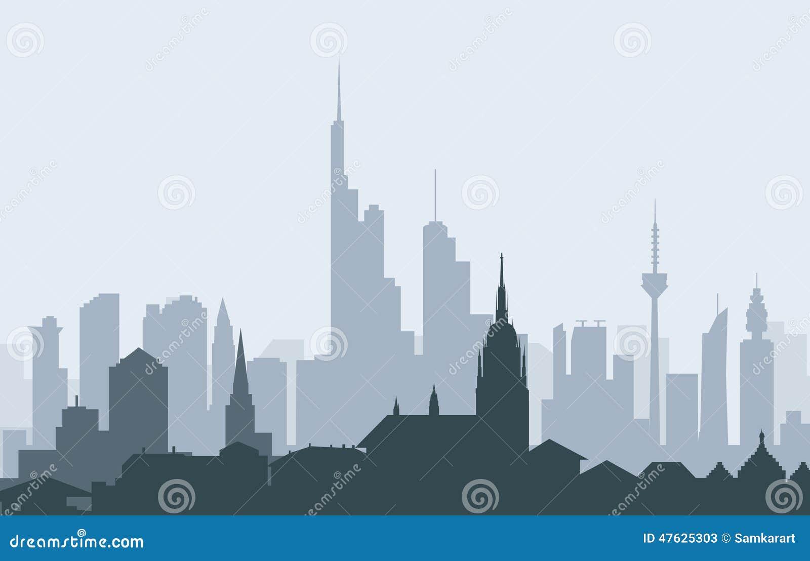 Frankfurt german morning skyline vector stock vector for Graphic design frankfurt