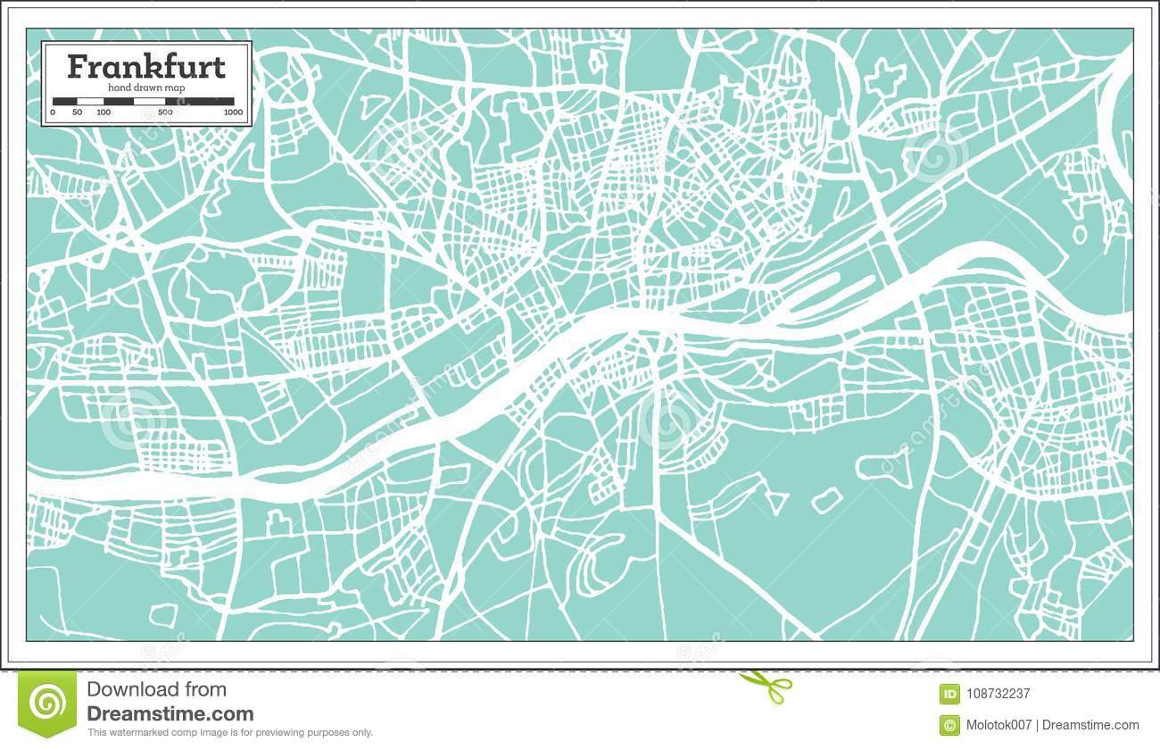 Frankfurt Germany City Map In Retro Style. Stock Vector ...
