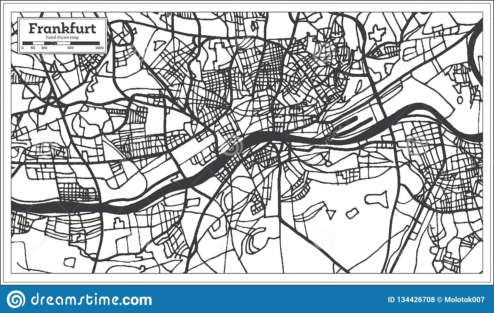 Map Of Germany Frankfurt.Frankfurt Germany City Map In Retro Style Outline Map Stock Vector