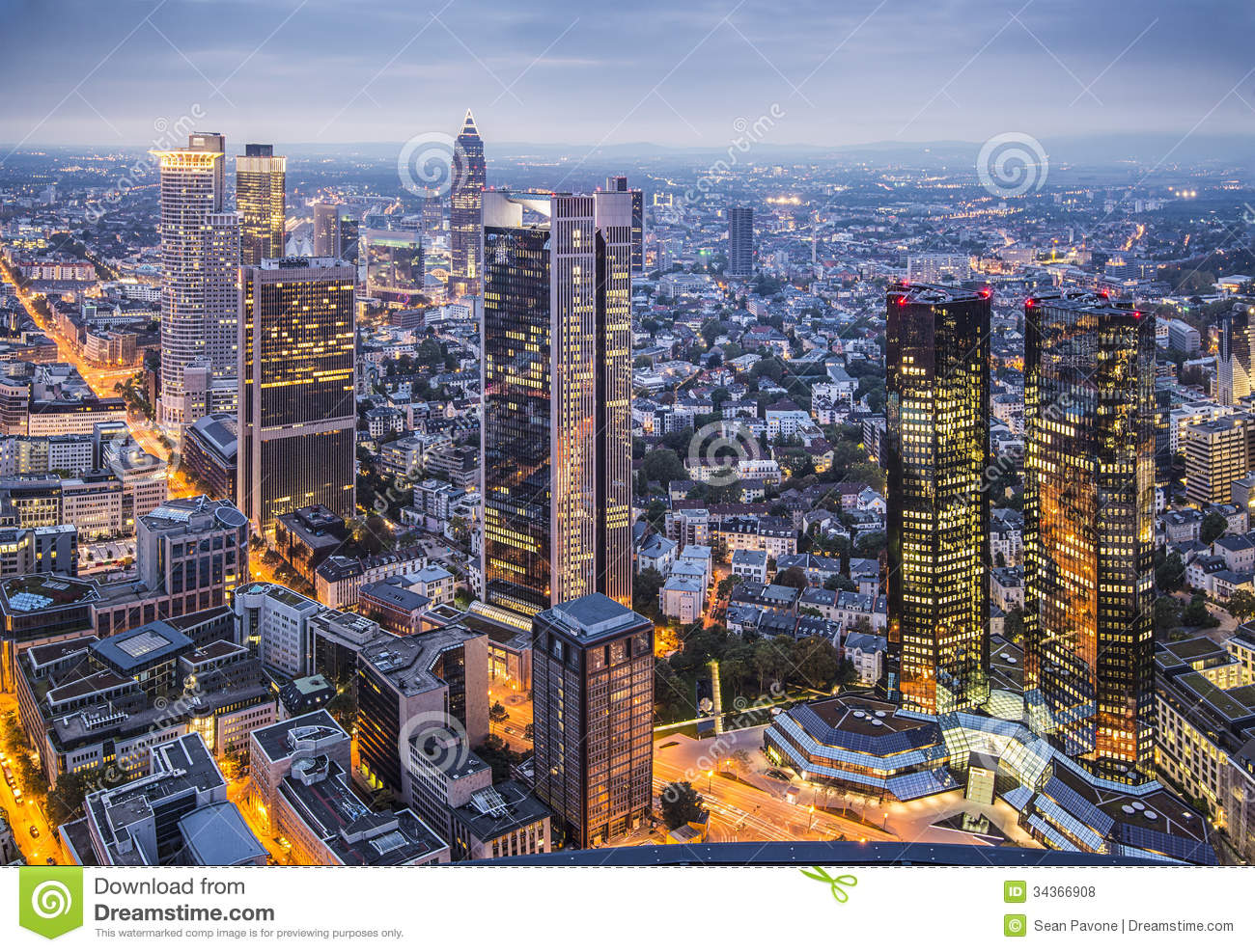Cityscape of frankfurt, germany, the financial center of the country