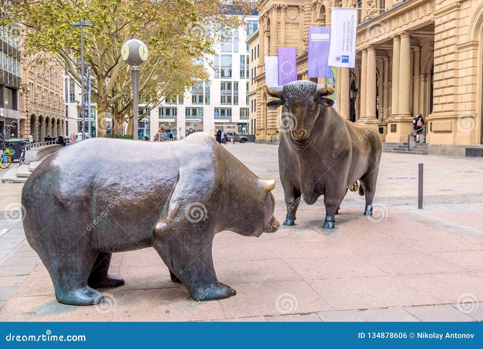Frankfurt, germany - November, 2018: Bear and Bull sculpture near Frankfurt Stock Exchange building