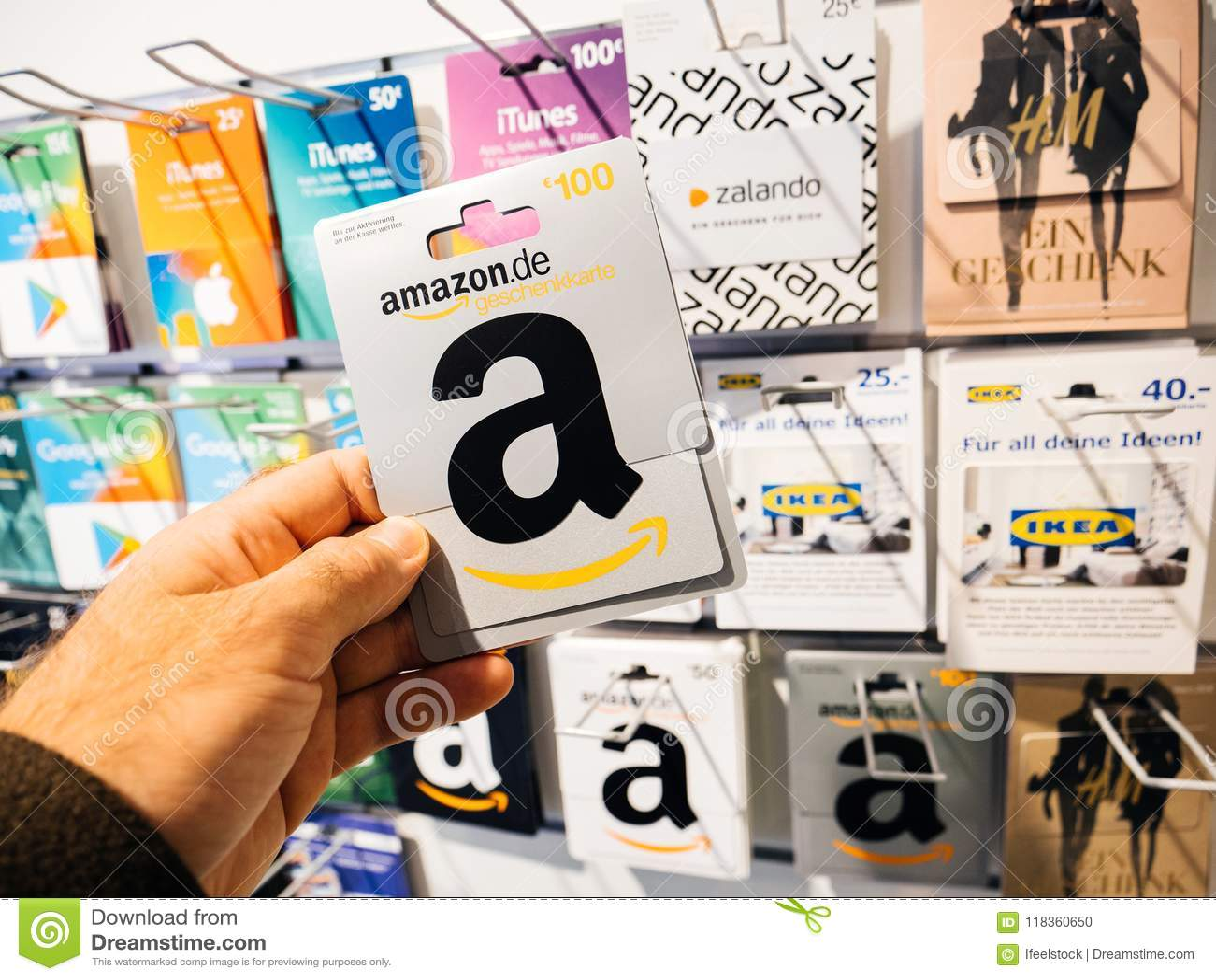 Man Hand Point Of View Customer Shopping Prepaid Card Amazon Car