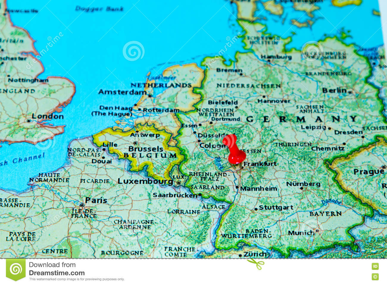 Frankfurt Germany Pinned On A Map Of Europe Stock Image Image Of