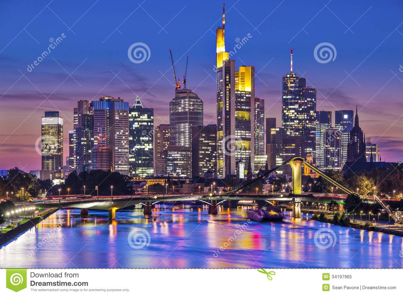 Skyline of frankfurt, germany, the financial center of the country