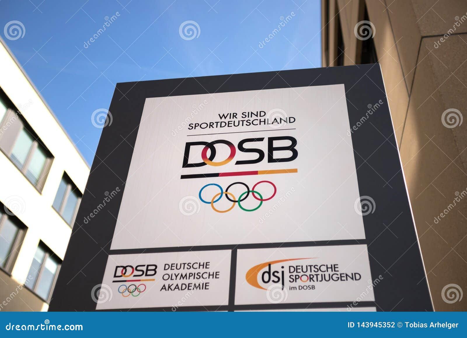 Frankfurt, hesse/germany - 22 03 19: dosb sign in frankfurt germany