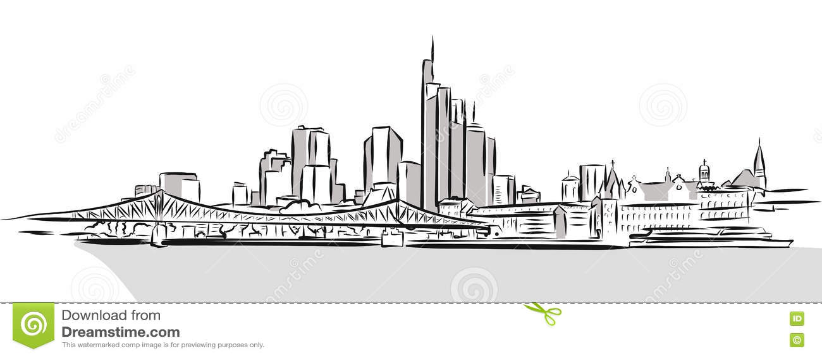 Frankfurt Main Downtown Outline Sketch