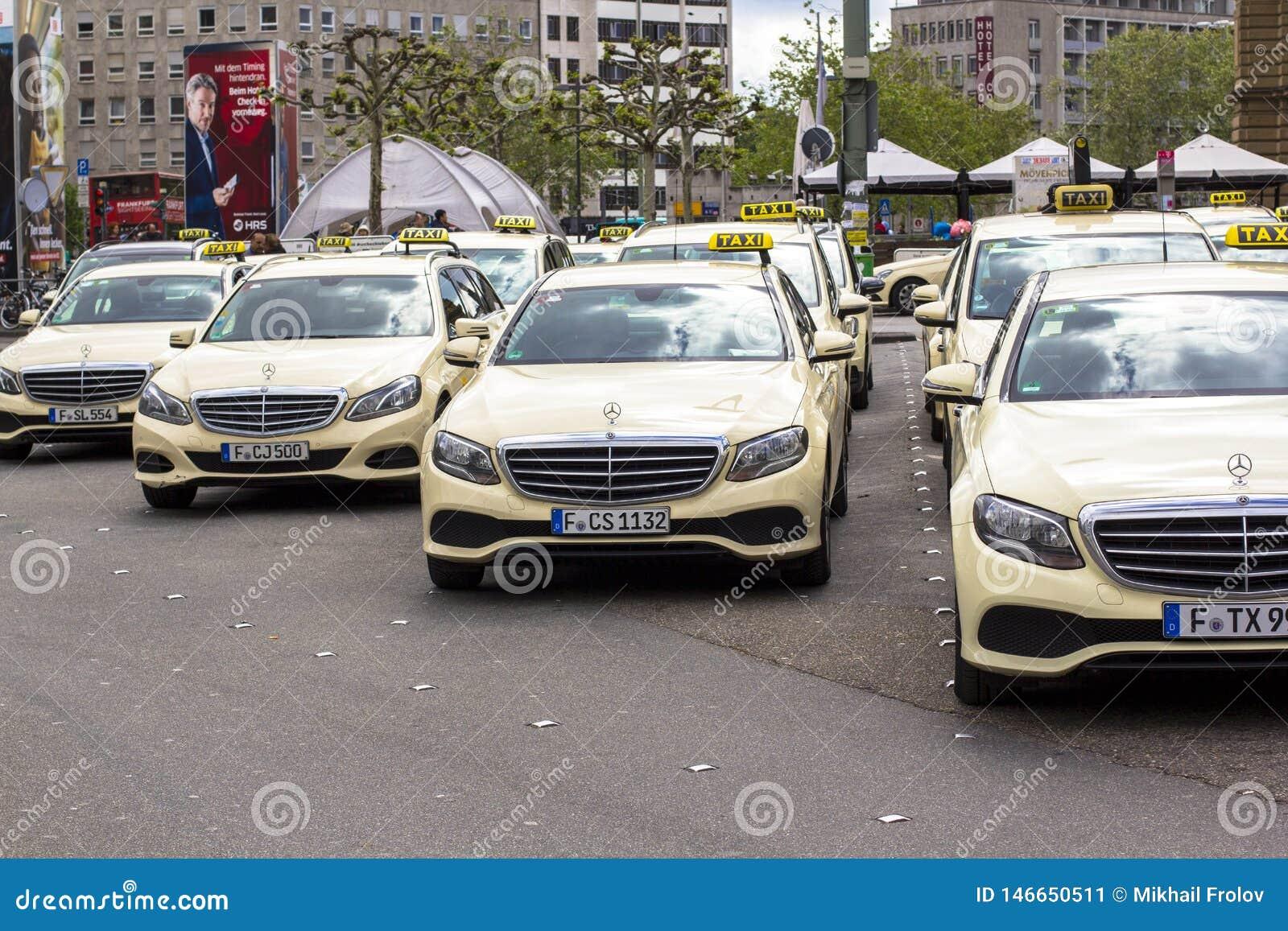 Frankfurt am Main, Germany. Hauptbahnhof, April 28, 2019, Taxi parking in Germany. Frankfurt taxis are predominantly Mercedes