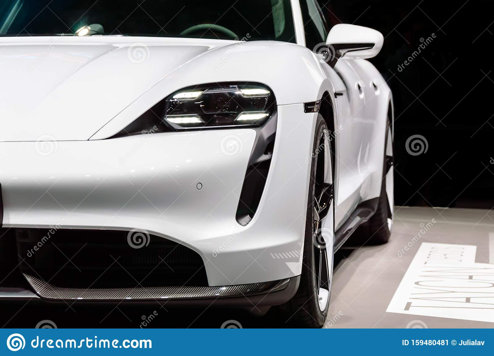 Close Up Of White Porsche Taycan Turbo S First Electric Porsche Sports Car Presented At Iaa 2019 Editorial Photo Image Of Motorsport Side 159480481