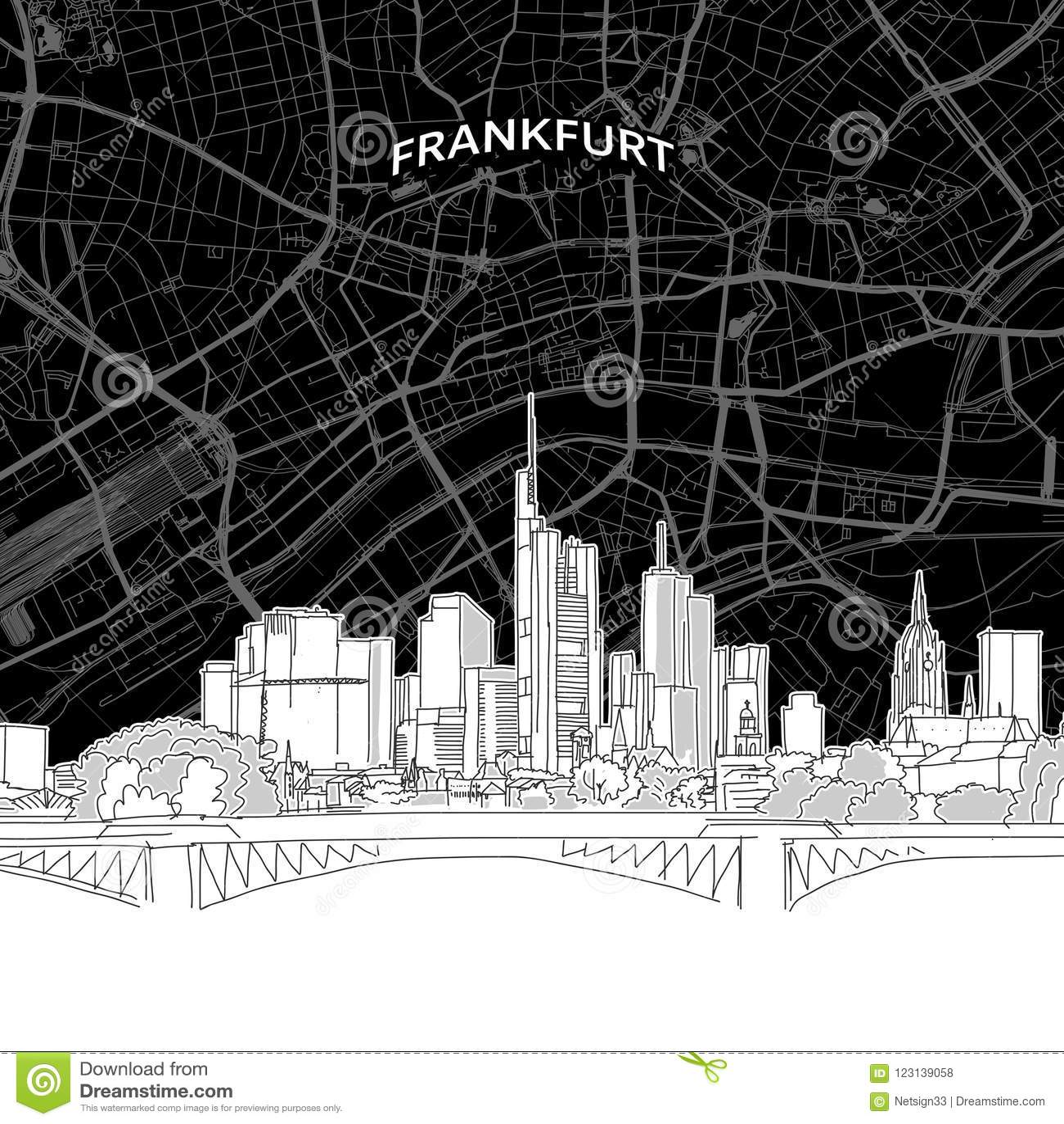 Frankfurt skyline with map
